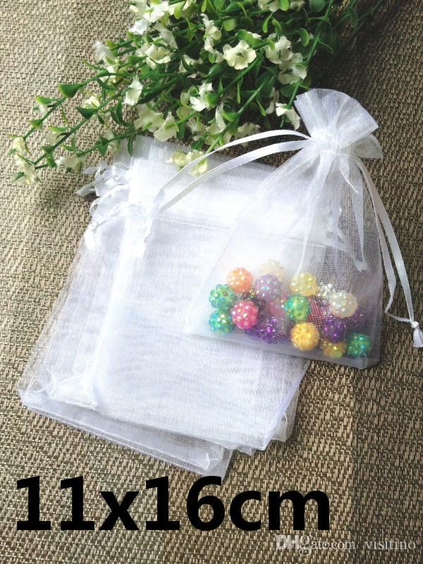 11x16cm 500ピース/ロット卸売(大株)ホワイトミックスオーガンザバッグジュエリーギフトドローストリング保管袋
