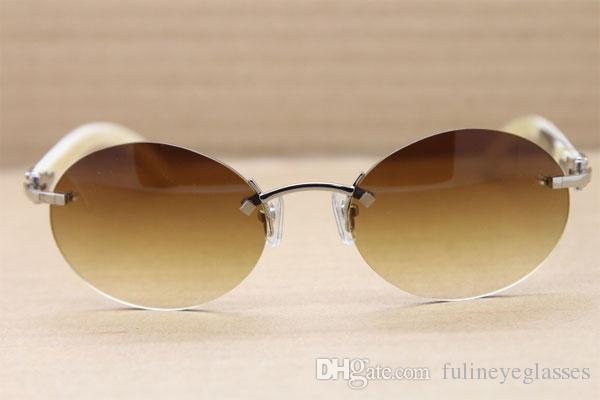 무료 배송 라운드 화이트 버팔로 호른 선글라스 남여 디자인 2020 뜨거운 판매 하프 프레임은 C 장식 사이즈 선글라스 : 56-18-140 mm를