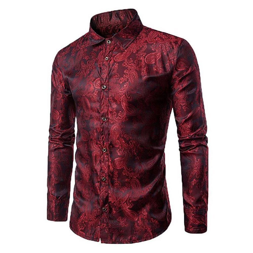 7f3122341 Compre Camisa De Vestir De Seda Estampada De Manga Larga Para Hombres  Nuevos Baile Fiesta De Graduación Con Botones Camisas De Moda A  25.38 Del  ...