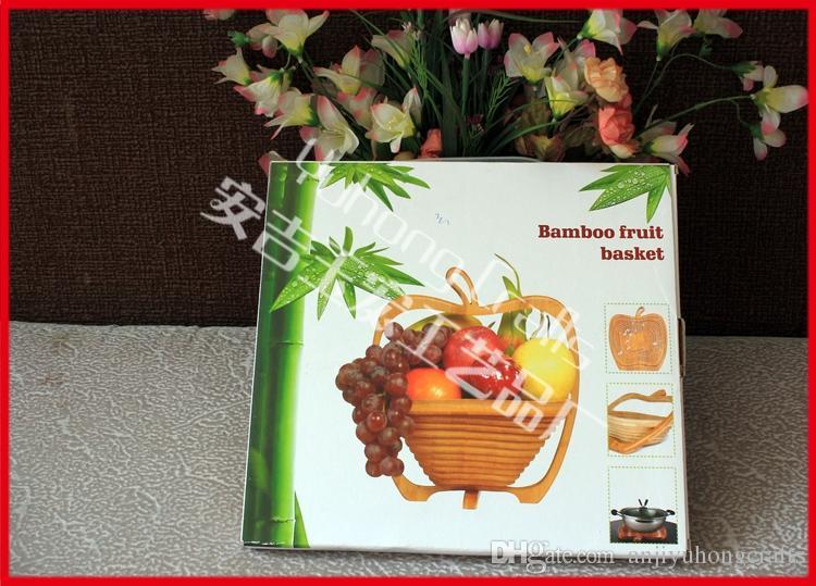 الخيزران سلة الفاكهة الخضار قابلة للطي ، سلة الفاكهة الخضار طوي أبل تصميم