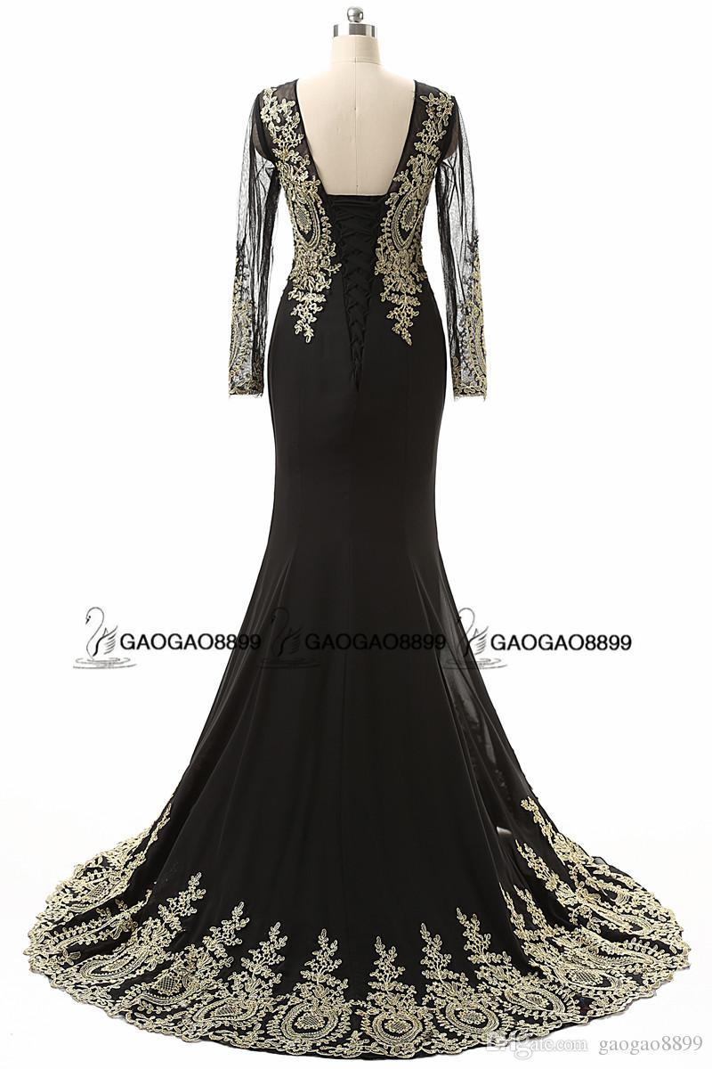 리얼 이미지 골드 자수 인어 드레스 저녁 착용 긴 검은 시어 목 허리띠 아랍어 긴 소매 트럼펫 행사 댄스 파티 복장 싸게