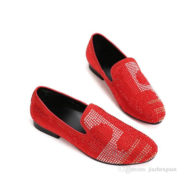 2017 New style Dandelion Spikes Flat Leather Shoes Rhinestone Fashion Mens Loafers Dress Shoes Slip On Casual Diamond Pointed Toe Shoes M418
