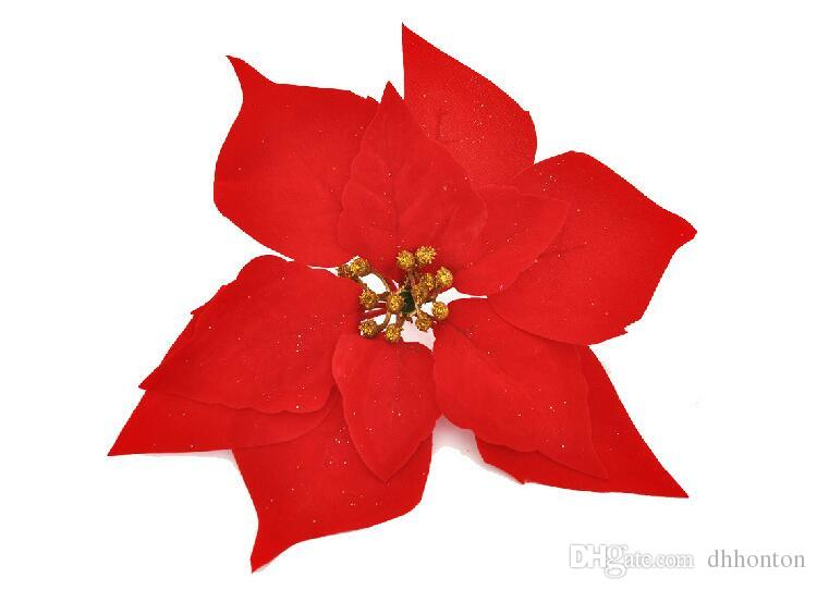 Artificial flowers poinsettia ,Christmas poinsettia flower heads silk flowers wholesale festival decoratiion flowers SF010