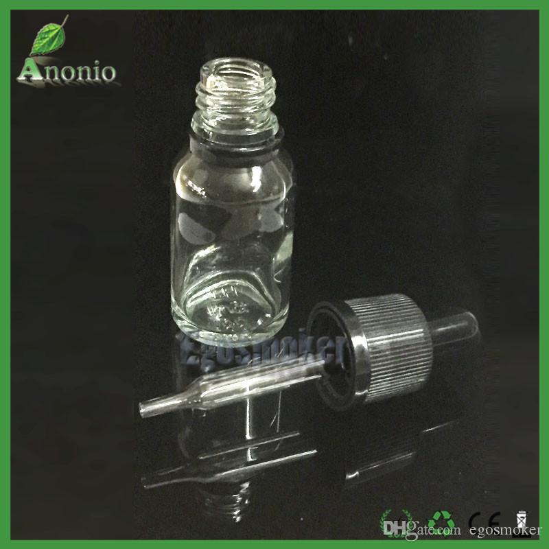5ml 10ml 15ml 30ml Glass Bottles Glass Gropper e Liquid Essentioal Oil Bottle With Childproof Tamper Evident Rubber Cap