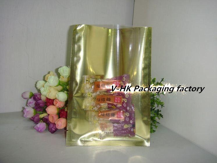 18*26m Golden Heat Seal Plating Aluminum Foil Bag Powder Coffee Nuts Package Front Clear Flat Foil Vacuum Pouch Wholesale