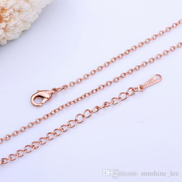 fashion necklaces designs 1.5MM 18k rose gold necklace O chain necklace pendant necklace
