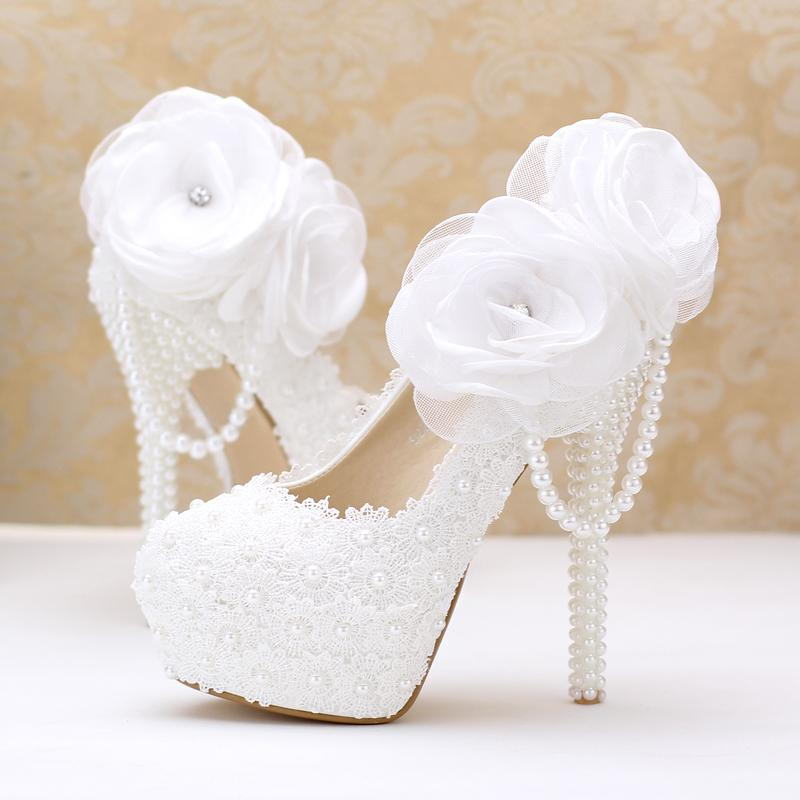 Elegant White Lace Round Toe Wedding Shoes Pearl Bride Dress Handmade Flowers Dancing Ladies Single Bridal Shoe Stores