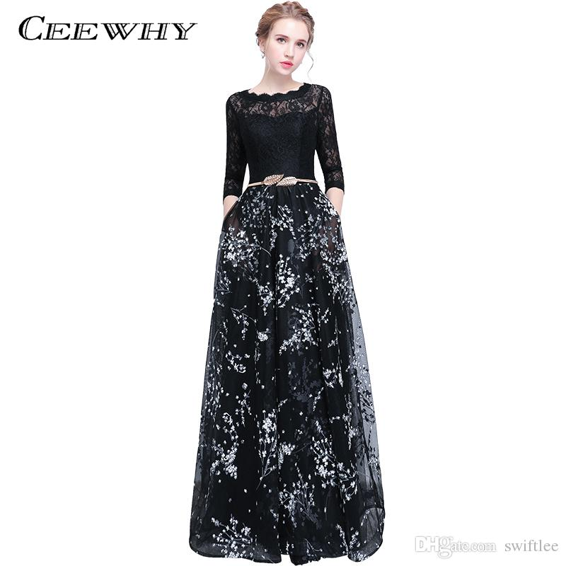 CEEWHY Three Quarter Sleeve Floral Vintage Prom Dresses Long Evening Dress  Elegant Evening Party Lace Dress Abendkleid Formal Dresses Plus Size Dresses  From ... 708ff2da3752