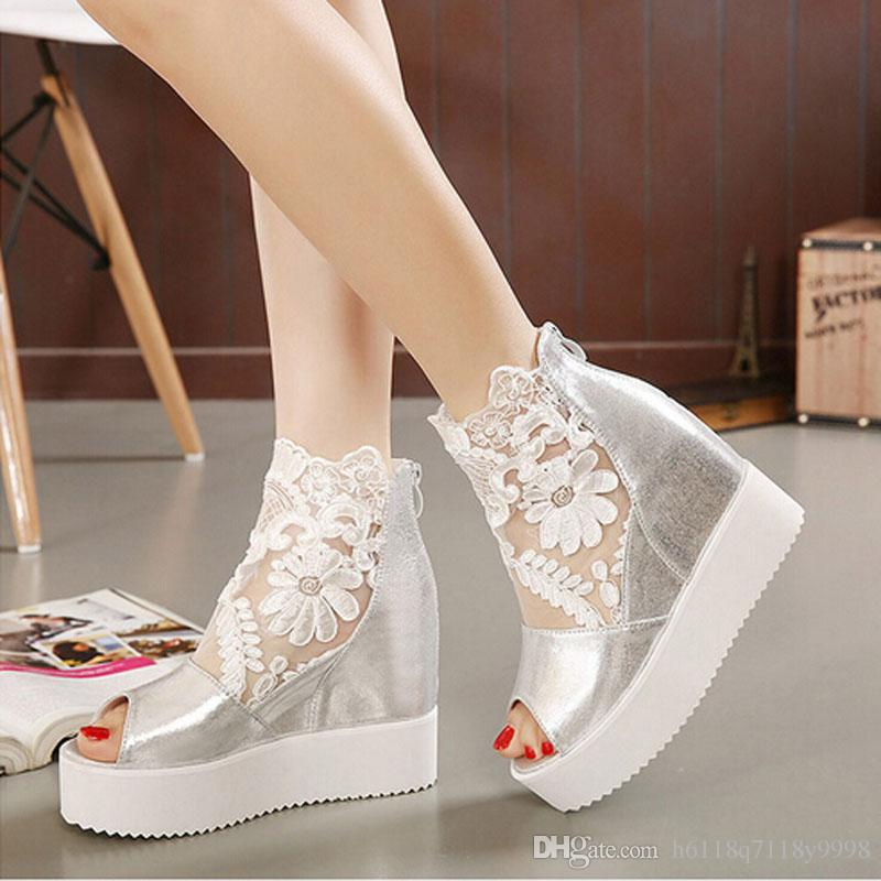 Hot And In 2015 The New Fashion Wedding Shoes Silver Rhine Wedges Shoes Bride Wedding The