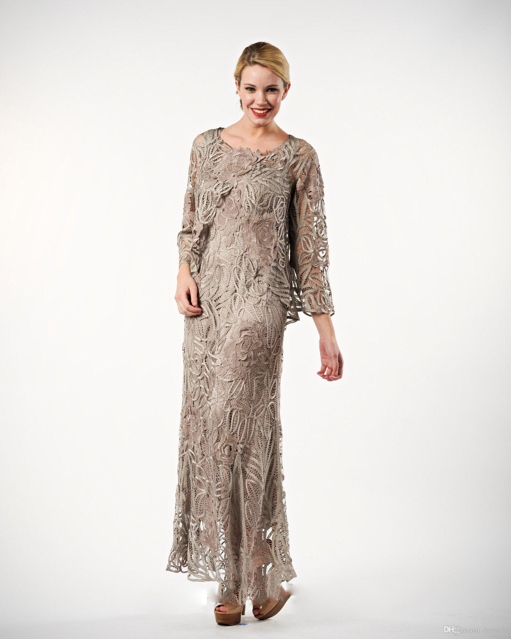 Plus Size Lace Mother Of The Bride Dresses 2018 Scoop Neck Evening Gowns  Ankle Length Sheath Wedding Guest Dress With Long Jacket Mothers Dresses  For ...
