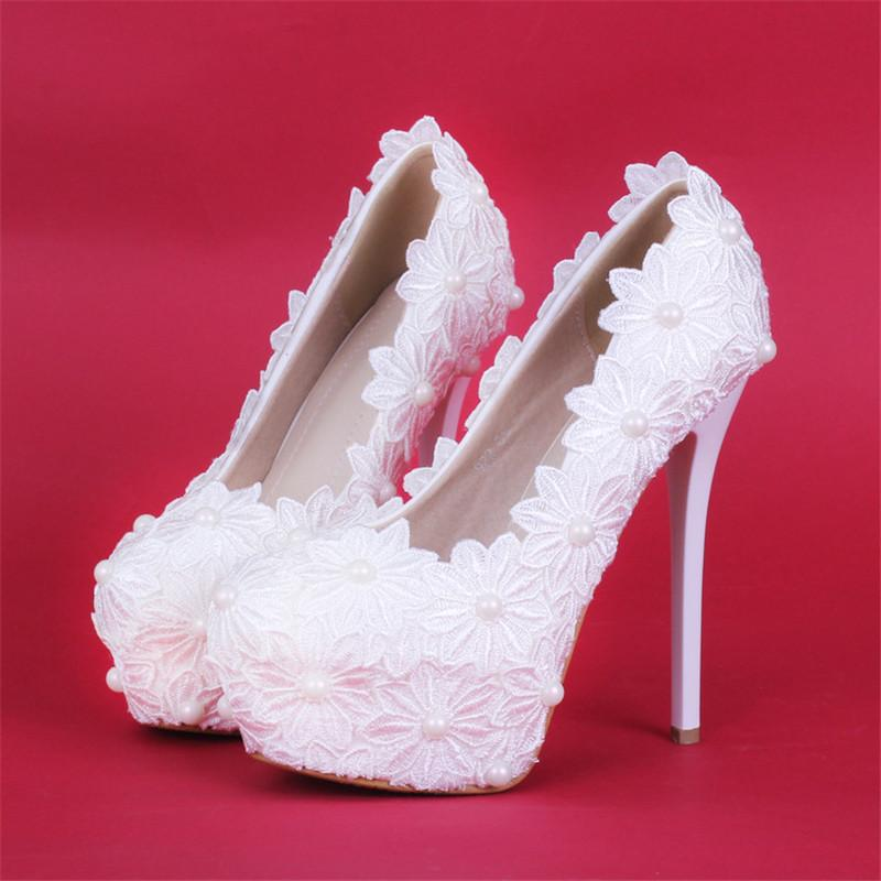 New handmade fashion wedding Shoes round toe lace flowers High Heels elegant Bridal dress Shoes pearls prom dress pumps