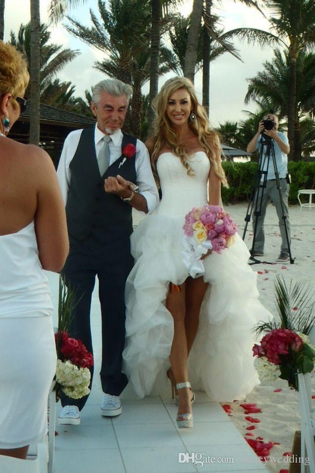 الجبهة قصيرة طويلة عودة فستان الزفاف الحبيب أكمام الأبيض اورجانزا طول الكلمة عارية الذراعين الأورجانزا انخفض عالية منخفضة فساتين زفاف الشاطئ