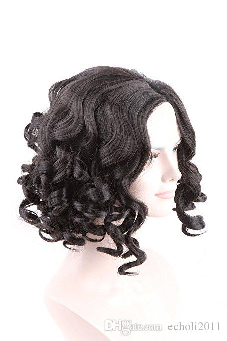 180% Cheap Glueless Short wavy curly Bob Wig side Part Virgin Peruvian Hair Lace Front Wigs 12inch