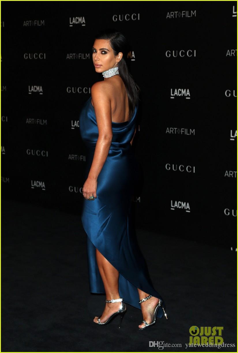 Vestido de celebridade do tapete vermelho CMA Kim Kardashian um ombro sereia vestidos de noite Formal desgaste das mulheres