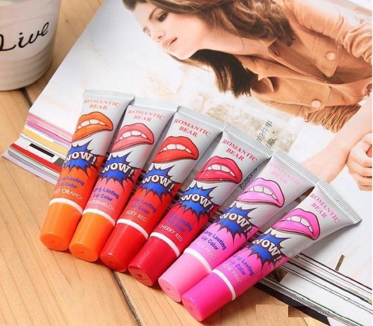 In magazzino romantico orso donne compongono 12ml tinta wow tinta di lunga durata della labbra tinta pelazione fuori il rossetto labbra piene tatto impermeabile labbro lucido lucido Gloss dhl