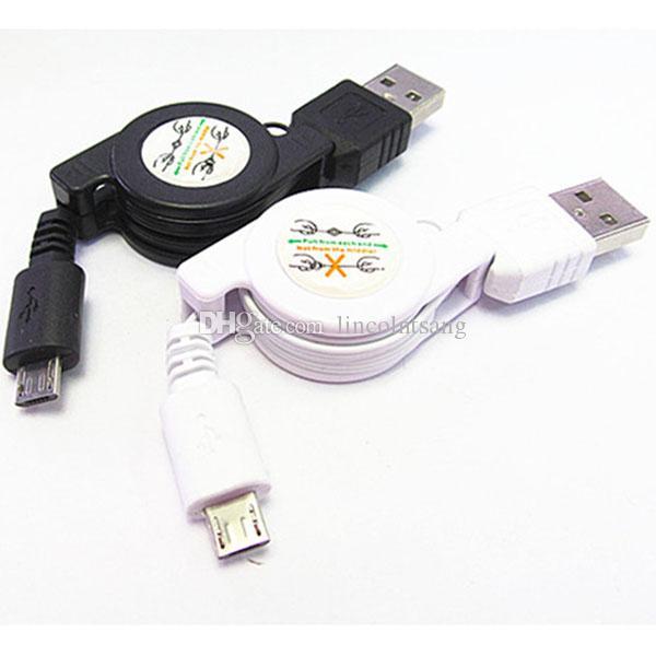 Venta al por mayor Negro Blanco Micro USB A a USB 2.0 B Male Retractable Data Sync Cargador Cable Cable Nuevo
