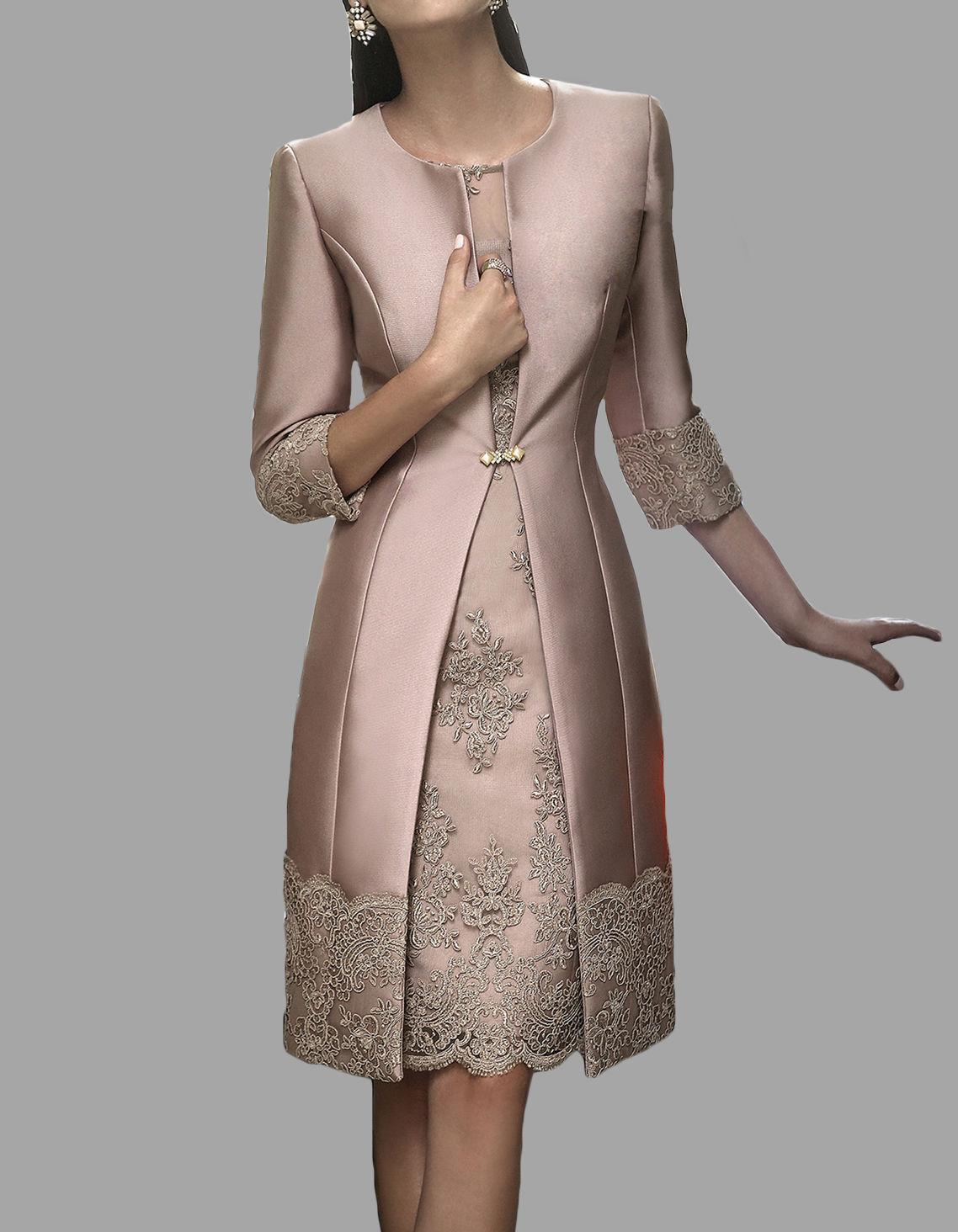 Fast delivery sheath mother of the bride lace dresses with for Black lace jacket for wedding dress
