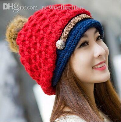 5e43372f381 Wholesale-2015 Winter Woman Knitting Wool Hat Keep Warm Cover Ear Winter  Hats for Men And Women Hats Clearance Hat Cap Hat Chinese Online with   24.64 Piece ...