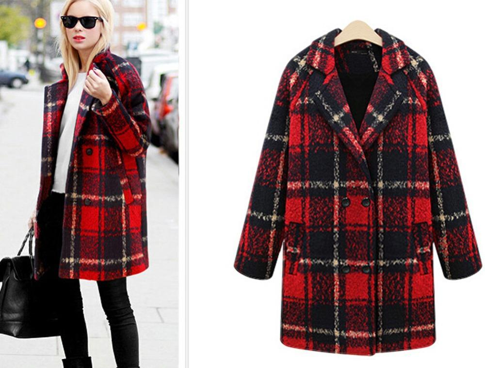 2015 New Arrival Winter Fashion Women Dress Big Plaid Wool Coat ...