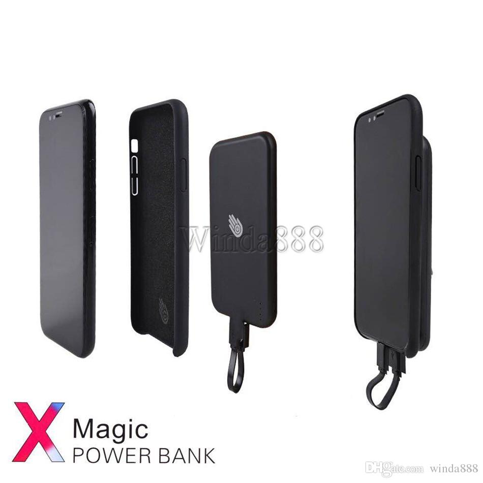 Good Quality Magic Fast Charger Mobile 5000 mAh Power Bank Magnetic External Battery Charger Case For iPhoneX with Retail package
