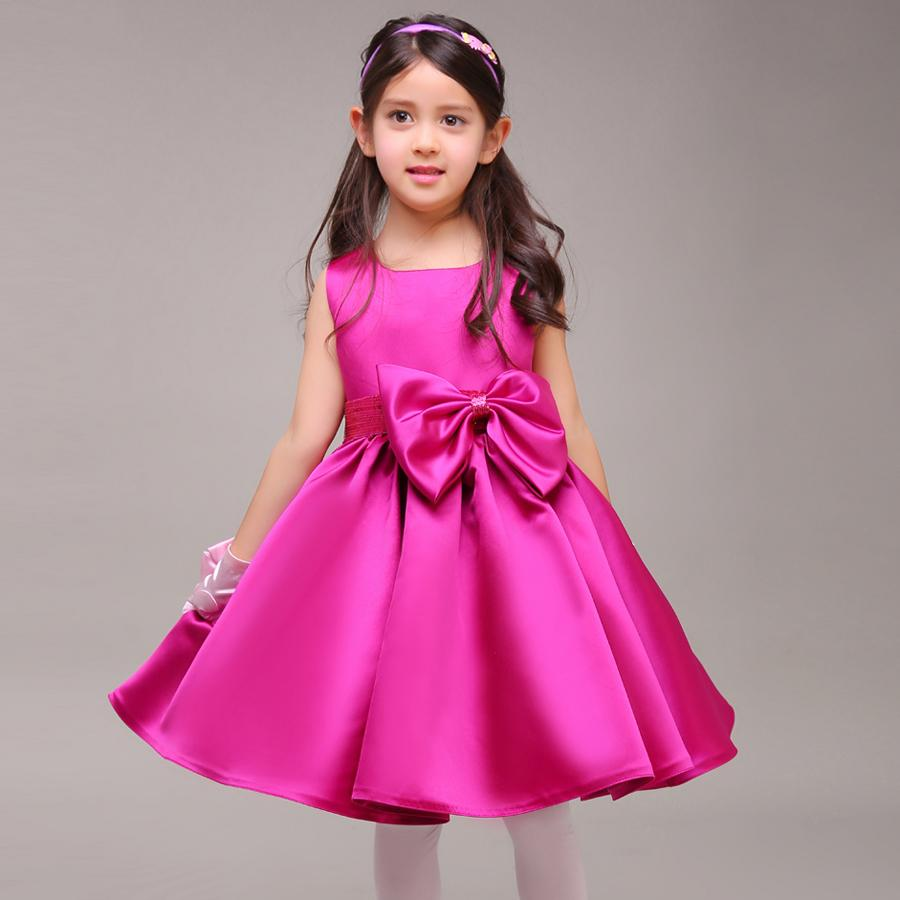 Hot pink satin flower girl dresses real photo knee length bowknot hot pink satin flower girl dresses real photo knee length bowknot sash first communion dresses for girls winter style birthday party dress bridesmaid ombrellifo Images