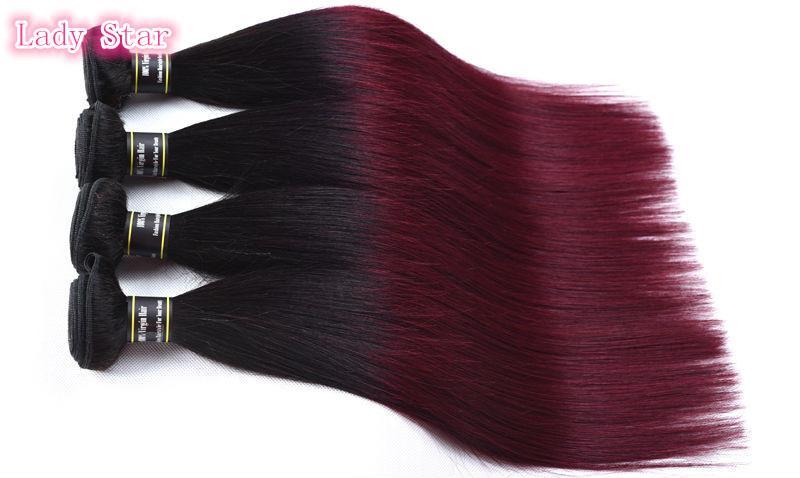 Top Quality Ombre Brazilian Virgin Hair Weaves Bundles Two Tone 1B/99J Wine Red Brazilian Peruvian Malaysian Straight Human Hair Extensions