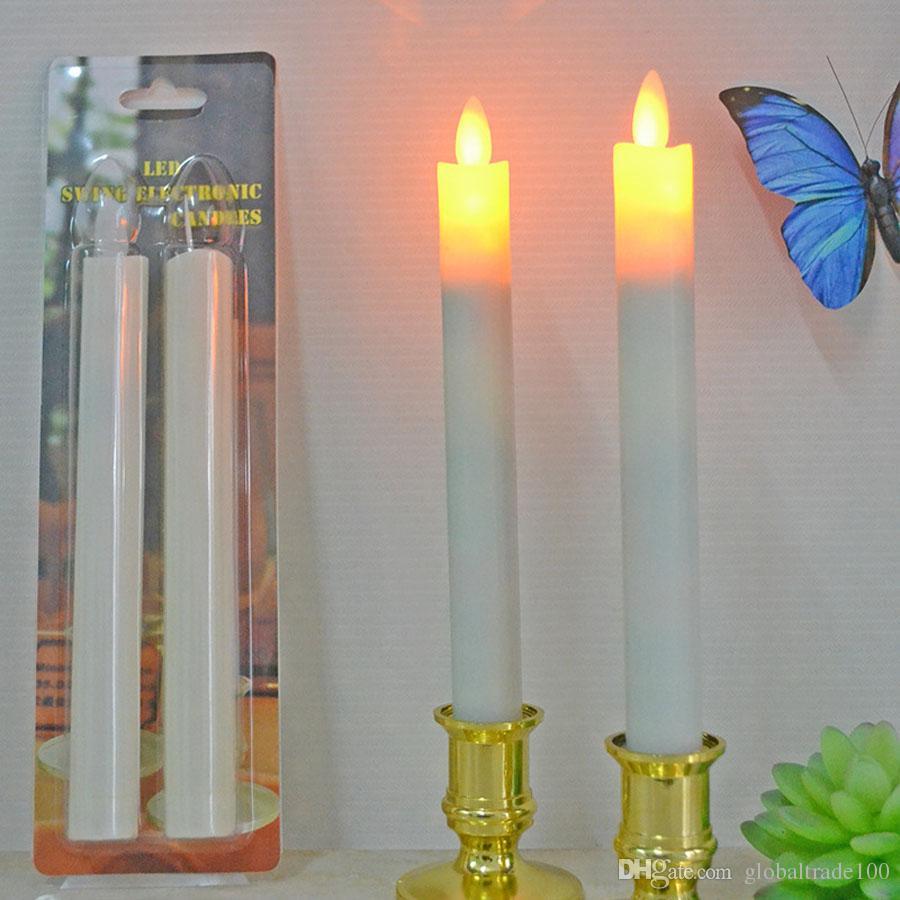 2 teile / los Moving Wick Flammenlose LED Kerzenhalter Lange Kegel Kerze Tanzen Flamme mit Fernbedienung für Weihnachten Hochzeit Decor Lichter