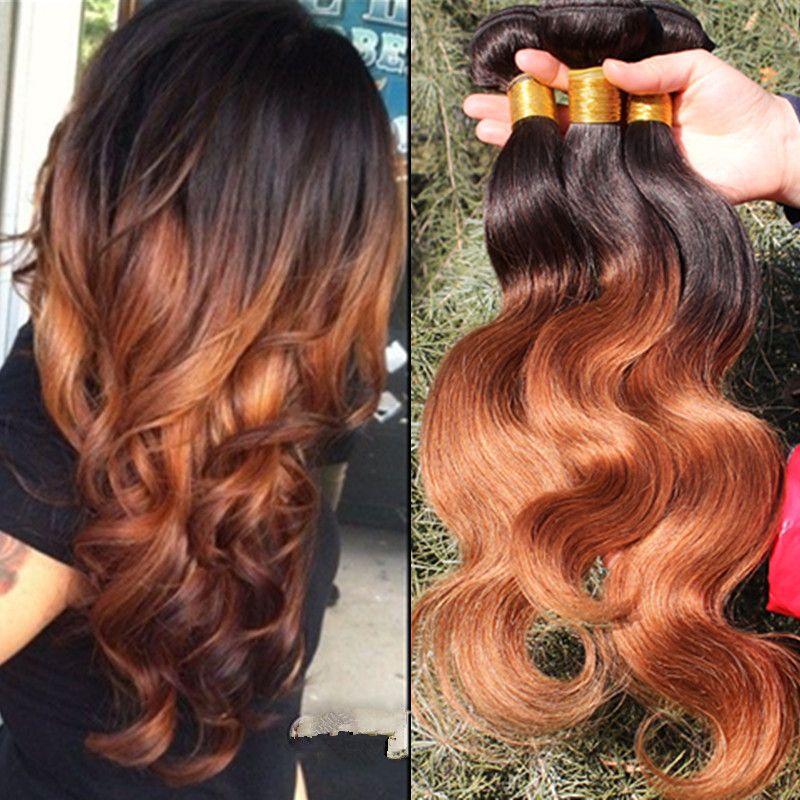 Ombre Har Extensions Brazilian Hair 1b30 2 Tone Color 6a Brazilian
