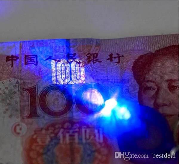 395-410nm Purpur UV LED Keychain Geld-Detektor führte helles protable Licht Keychains Autoschlüsselzusätze Großverkauf 2018 HEISSE Suche