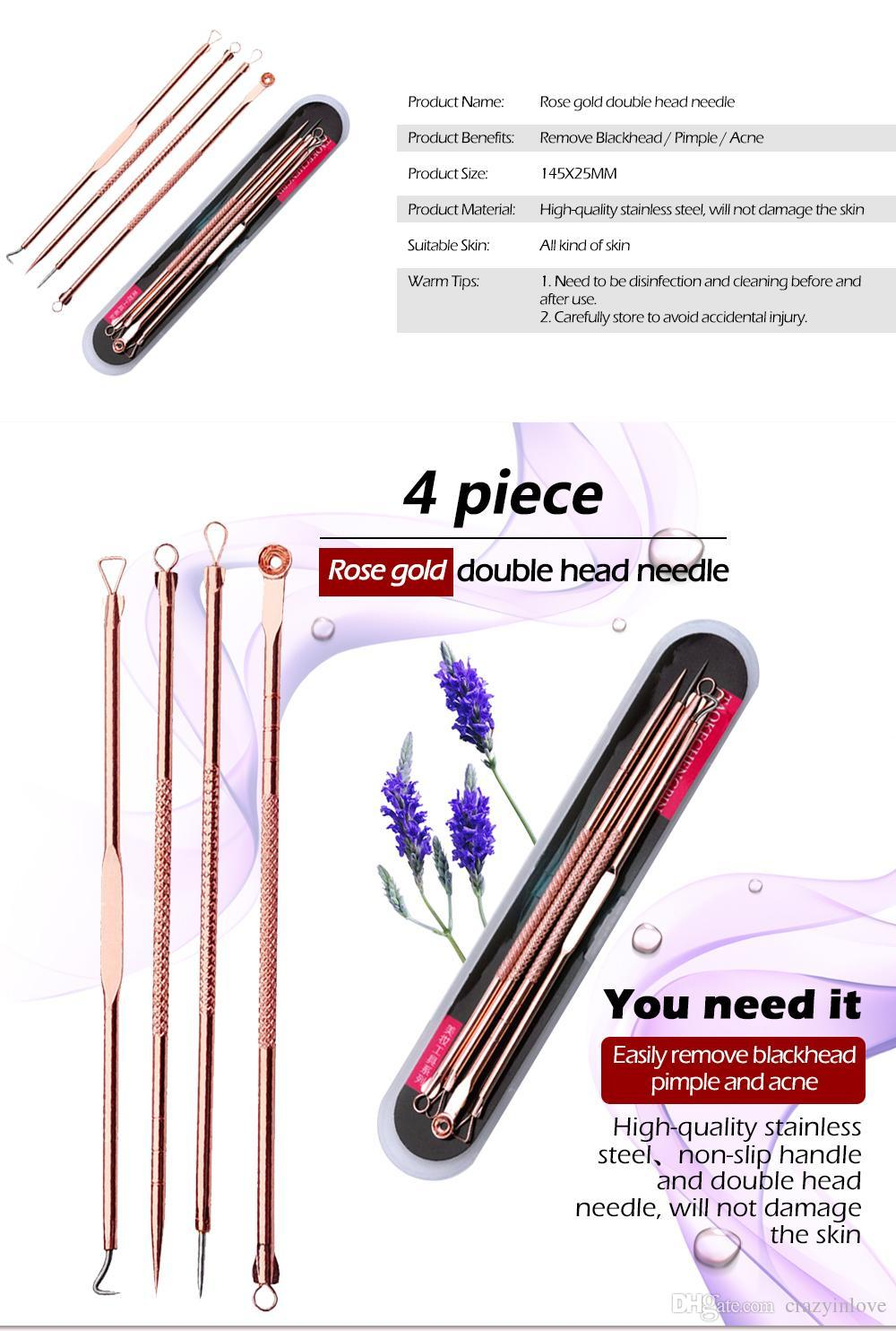 Rose Gold Blackhead Pimple Blemish Extractor Remover Tools Black Head Acne Remover Needle Facial Tool Kit Set Make Up Skin Care Product