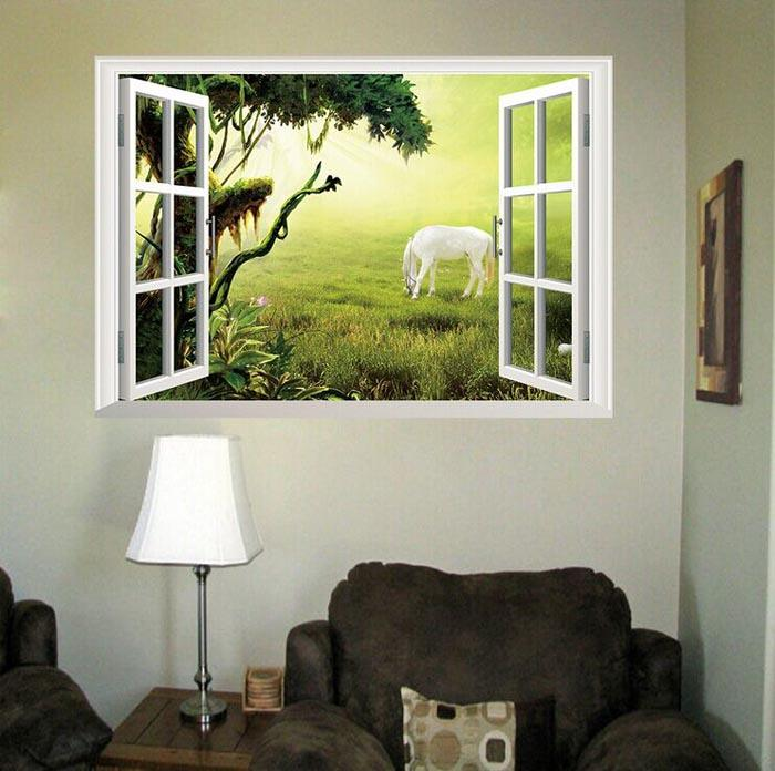 Fantastic fairytale dream windows wall stickers living bedroom decoration diy 3d horse animals cartoon home decals mural art wall stickers wall decal cheap