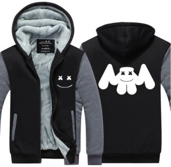 593bb2d569d Marshmello Cashmere Hoodie Skrillex New Winter Thicken fleece Cotton Zipper  Casual Coat Jacket super warm Sweatshirt USA EU Size Plus Size