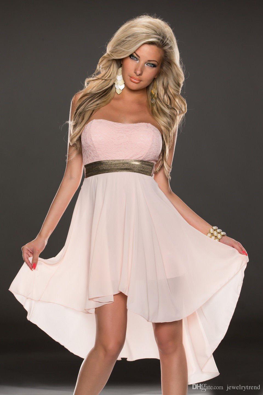 Ücretsiz Kargo Sıcak kadın Clubwear Elbise Straplez İnce Bel Kapalı Omuz Dantel Şifon Patchwork Akşam Parti Balo Elbise 5 Renkler