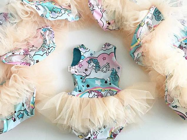 Unicórnio Do Bebê Meninas Pegasus Romper Rainbow Impresso Sem Mangas Saias Bolha Verão Animal Tulle Jumpsuit Crianças Backless TuTu Moda Bodysuit