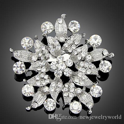 Vintage Silver Color Alloy Stunning Clear Crystal Large Flower Women Bridal Bouquet Brooch Hot Selling Fashionable Lady Hijab Wear Pins
