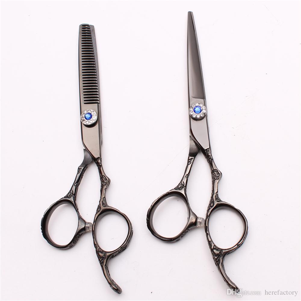 "C9002 6"" 440C Customized Logo Laser Professional Human Hair Scissors Hairdressing Cutting Thinning Shears Plum Handle Salon Style Tools"