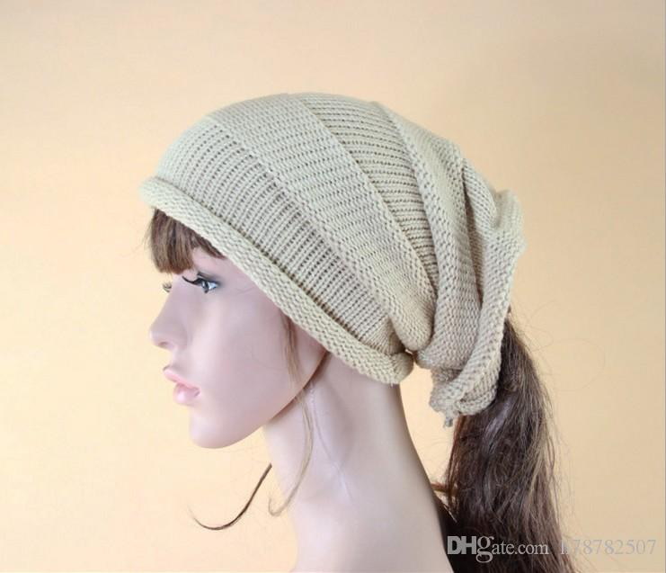 Hot sale Woolen Knitted Hat Winter Warm Caps For Women New Korean fashion without top knit hat