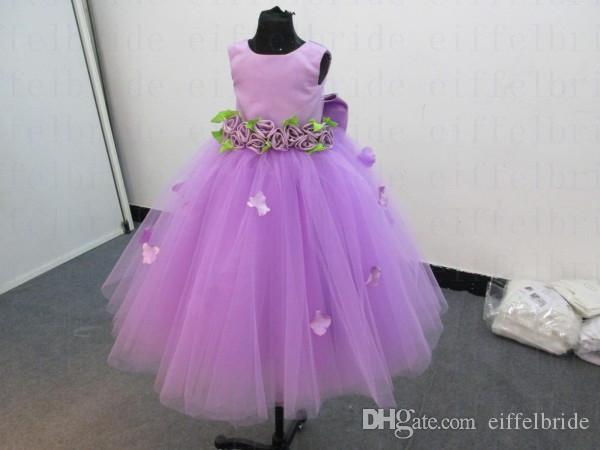 Custom-made Cheap Flower Girls Dresses with Beautiful Jewel Neckline Lilac Satin and Tulle Pretty Big Bowknot Back Pageant Gowns for Girls