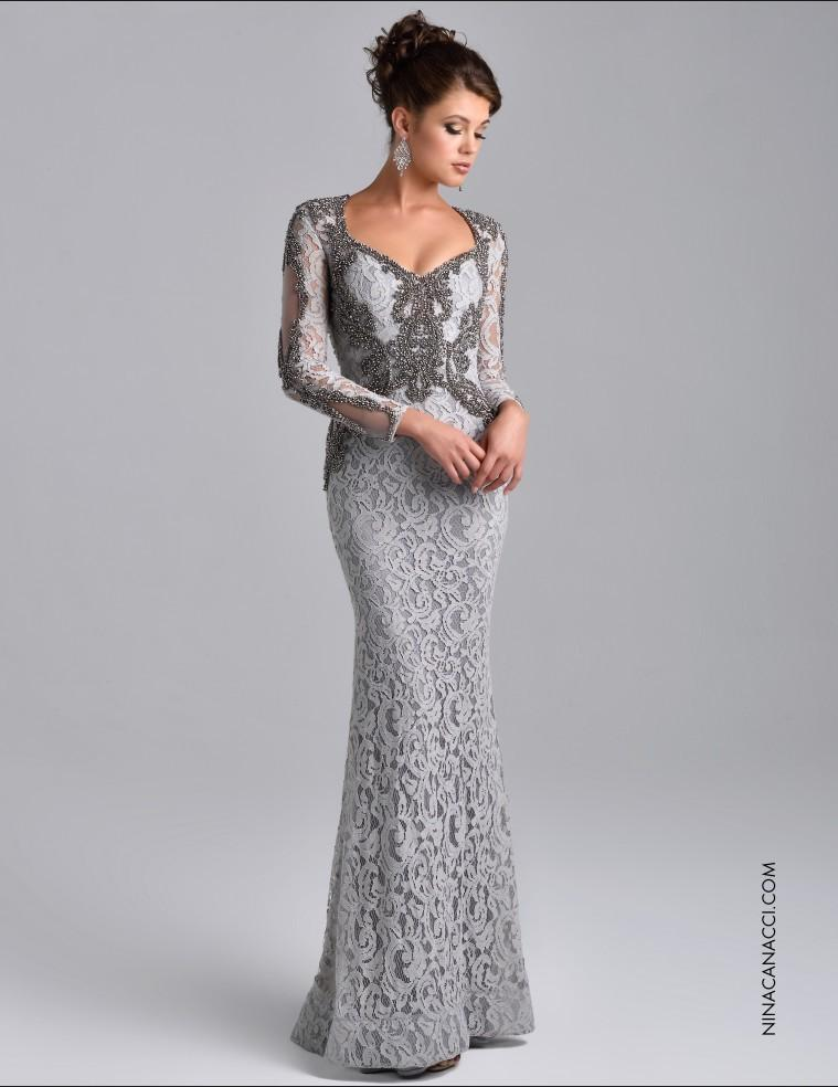 Formal Elegant Long Sleeve Evening Gowns Beaded Lace Long Sleeve ...