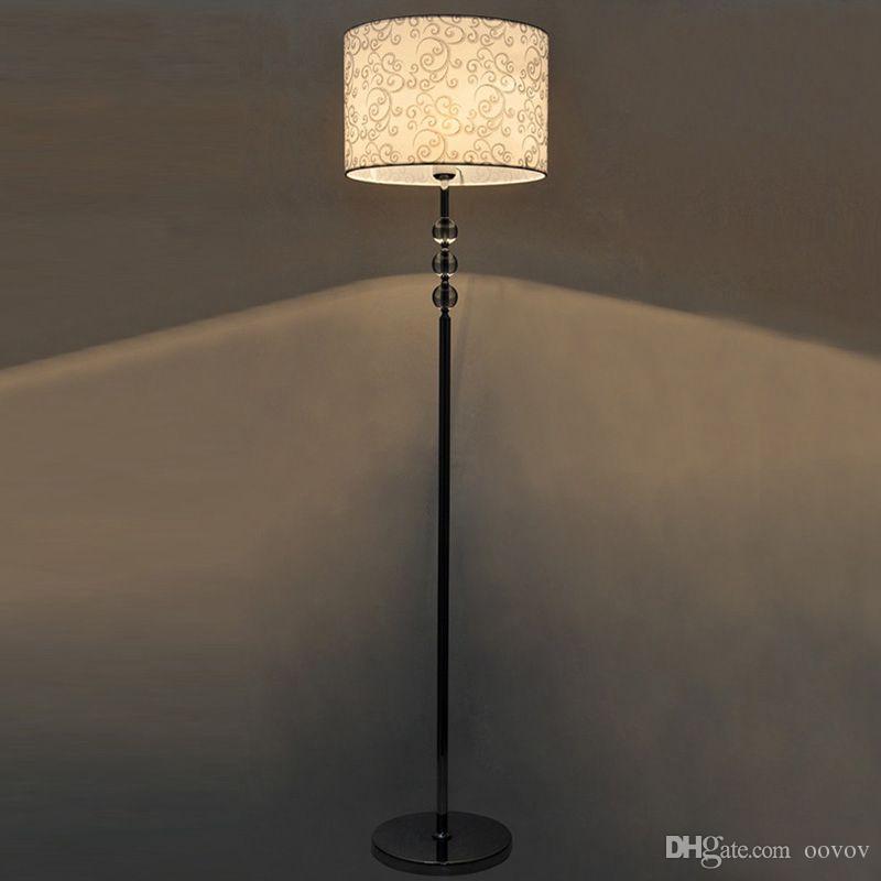 Kristal Kumaş Oturma Odası Zemin Lambaları Avrupa Basit Çalışma Odası Zemin Lambası Yatak Odası Zemin Işıklar Fikstür