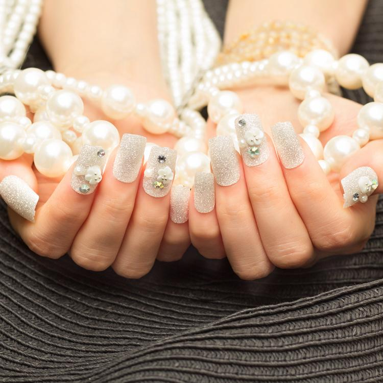 The Most Beautiful Bride Fake Nails White Decals Nail Strips False ...