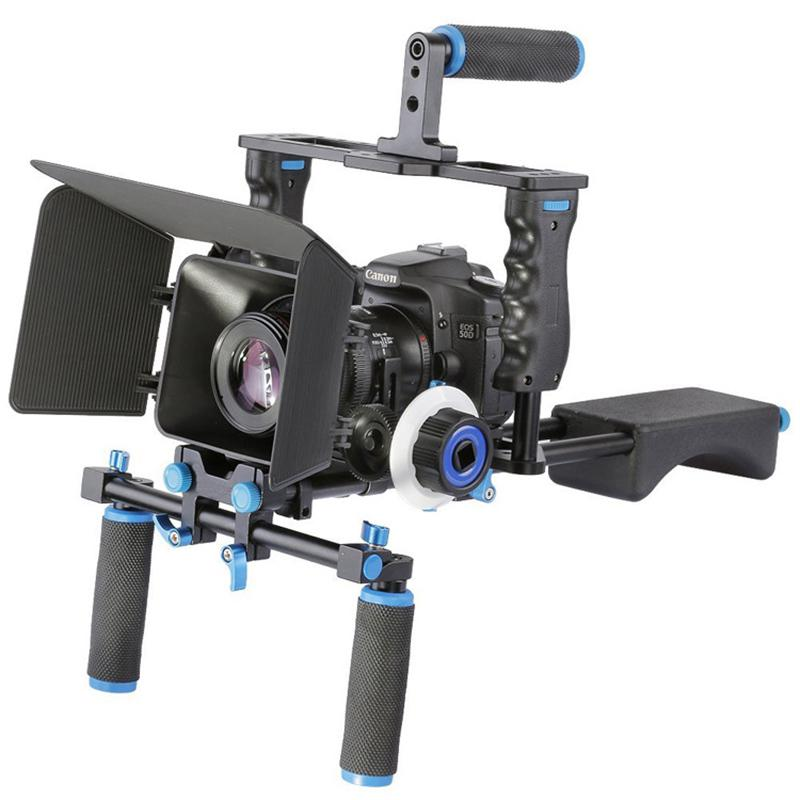 Freeshipping DSLR Rig Video Stabilizer Shoulder Mount Rig Matte Box Follow  Focus Dslr Cage for Canon Nikon Sony DSLR Camera Video Camcorder