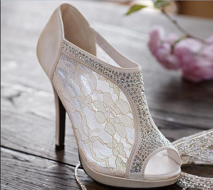 fa911e62f249 2016 New Arrive Wedding Shoes Lace Plus Size Rhinestone Peep Toe High Thin  Heels Cheap Modest Fashion Bridal Shoes For Ladies Sexy Hot Canada 2019  From ...
