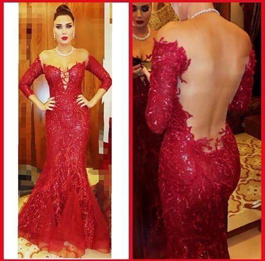 긴팔 티셔츠와 2016 이브닝 드레스 인어 페르시 자수 레이스를 통해 얇은 명주 그물 연예인 드레스 vestidos 드 올 중동 드레스