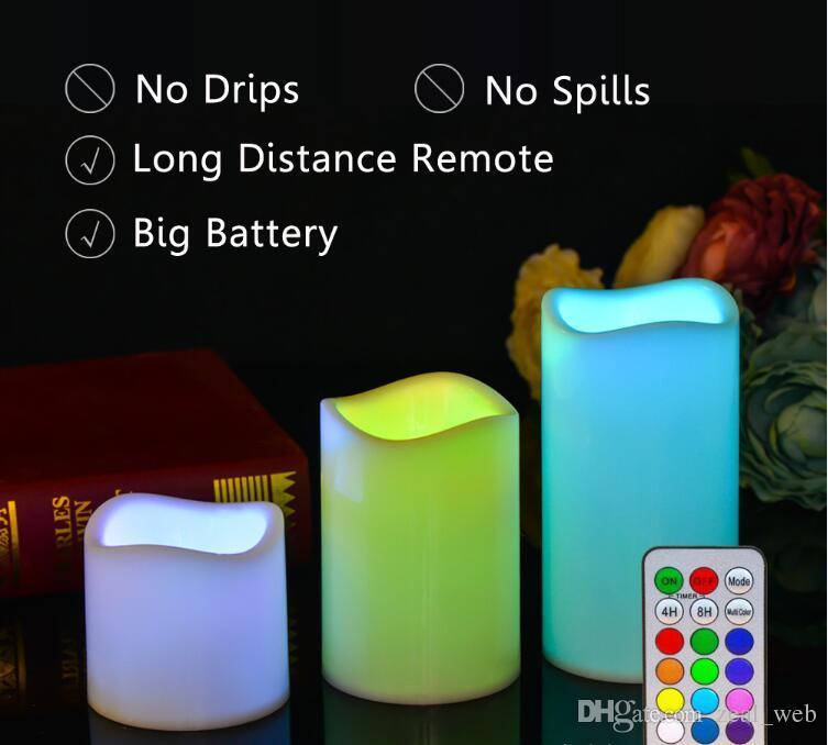 Velas sin llama de DHL Velas con pilas Pilar de cera real Velas LED con control remoto de 18 teclas es cambiados