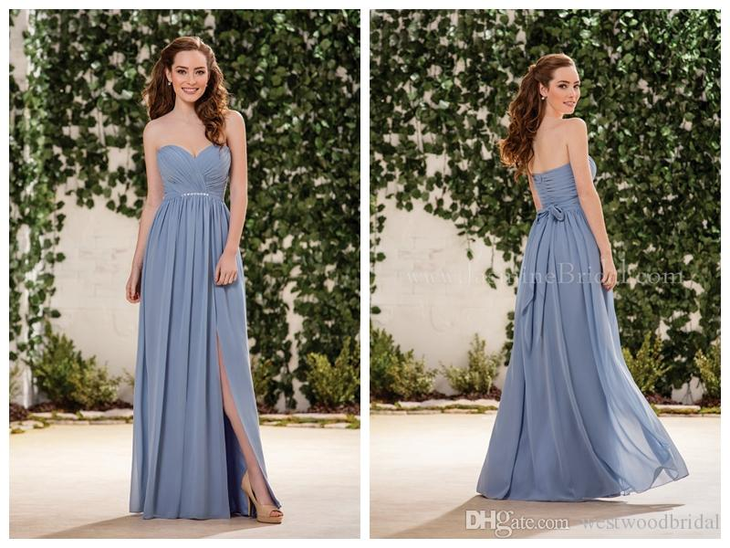 e15424f6a690 2018 Bridesmaid Dresses Party Evening Jasmine Bridesmaids Dresses Prom  Dress Long Wedding Guest Dress Sweetheart Pleats Ribbon Split Side Bridesmaid  Dress ...