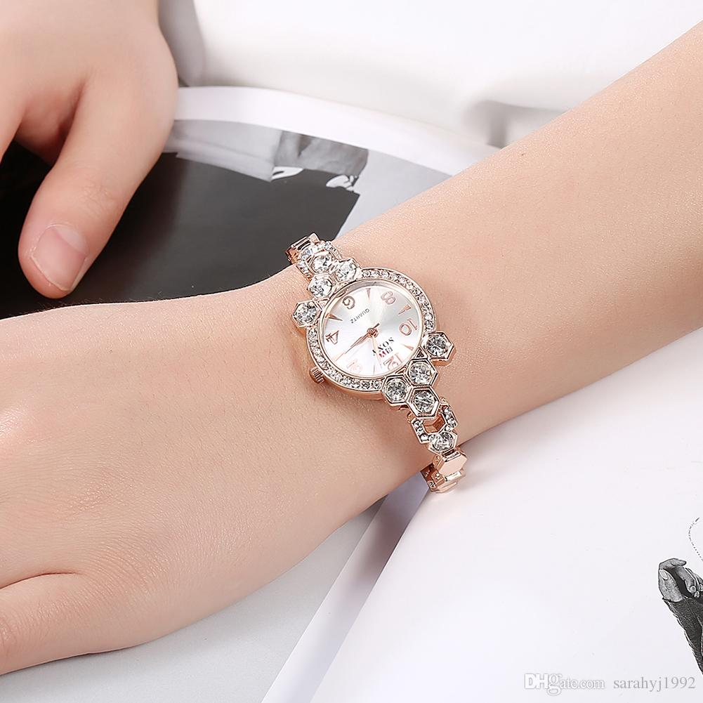 lady gold delicate product online rose watche fashion casual rhinestone quartz bracelet pretty female watches lovely women wedding wrist watch