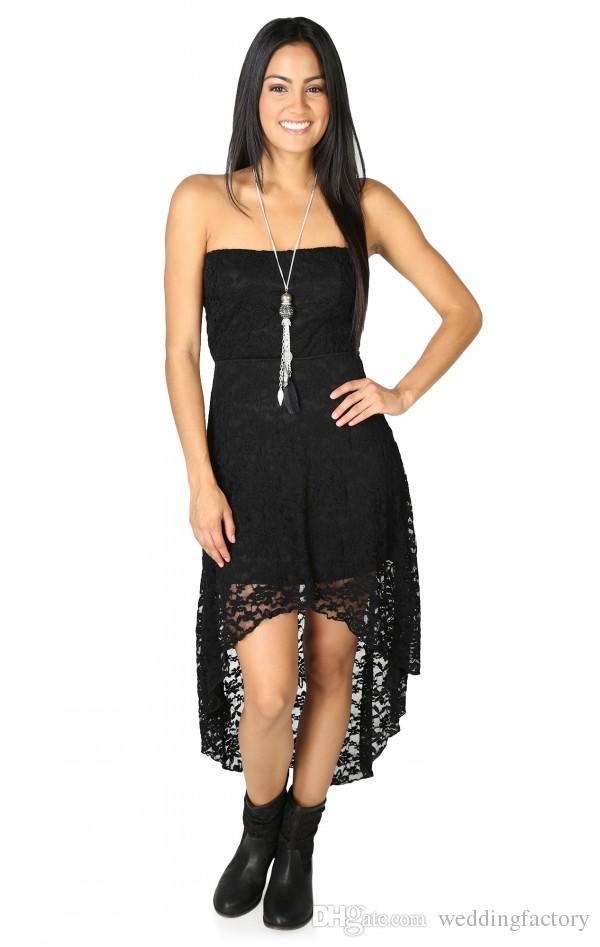 Goedkope hoge kwaliteit koningsblauw hoge lage prom jurken vintage sexy zwart kant goedkope strapless bruidsmeisje jurk voor land bruiloft