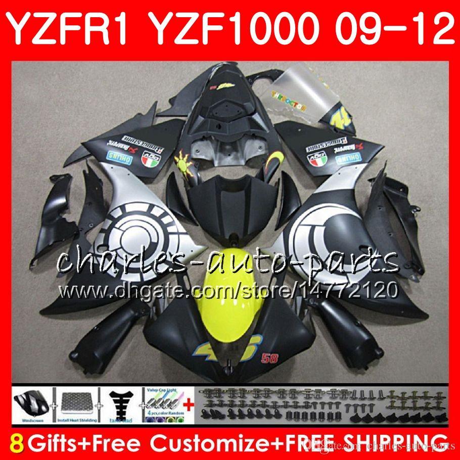 Body For YAMAHA YZF 1000 R 1 YZFR1 09 10 11 12 ALL Matte Bodywork 85NO58 YZF1000 YZF R1 2009 2010 2011 2012 YZF-1000 YZF-R1 09 12 Fairing