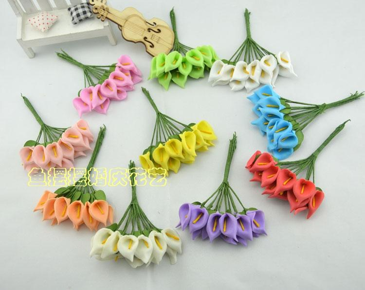 Diy Handmade Flower Brooch Small Foam Calla Lily Bouquet Wedding ...